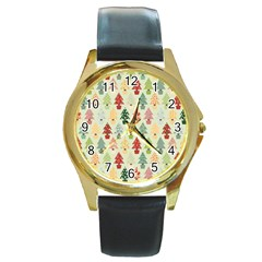 Christmas Tree Pattern Round Gold Metal Watch by Valentinaart