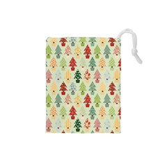 Christmas Tree Pattern Drawstring Pouches (small)  by Valentinaart