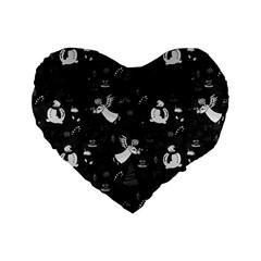Christmas Pattern Standard 16  Premium Heart Shape Cushions by Valentinaart