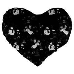 Christmas pattern Large 19  Premium Flano Heart Shape Cushions
