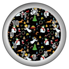 Christmas Pattern Wall Clocks (silver)  by Valentinaart