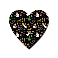 Christmas Pattern Heart Magnet by Valentinaart