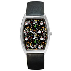 Christmas Pattern Barrel Style Metal Watch by Valentinaart
