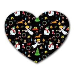 Christmas Pattern Heart Mousepads by Valentinaart