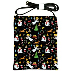 Christmas Pattern Shoulder Sling Bags by Valentinaart