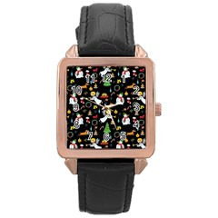 Christmas Pattern Rose Gold Leather Watch  by Valentinaart
