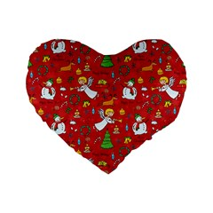 Christmas Pattern Standard 16  Premium Flano Heart Shape Cushions by Valentinaart