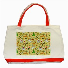 Christmas Pattern Classic Tote Bag (red) by Valentinaart