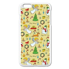 Christmas Pattern Apple Iphone 6 Plus/6s Plus Enamel White Case by Valentinaart