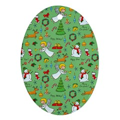 Christmas Pattern Ornament (oval) by Valentinaart
