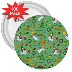 Christmas Pattern 3  Buttons (100 Pack)  by Valentinaart
