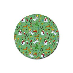 Christmas Pattern Rubber Coaster (round)  by Valentinaart