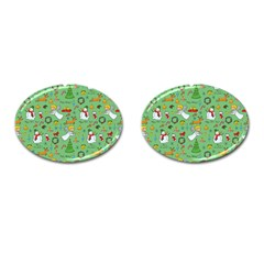 Christmas Pattern Cufflinks (oval) by Valentinaart