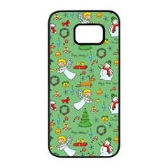 Christmas Pattern Samsung Galaxy S7 Edge Black Seamless Case by Valentinaart