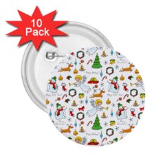 Christmas Pattern 2 25  Buttons (10 Pack)  by Valentinaart
