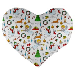 Christmas Pattern Large 19  Premium Flano Heart Shape Cushions by Valentinaart