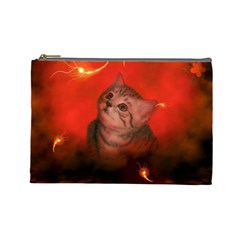 Cute Little Kitten, Red Background Cosmetic Bag (large)  by FantasyWorld7