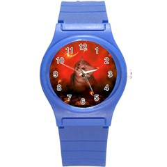 Cute Little Kitten, Red Background Round Plastic Sport Watch (s) by FantasyWorld7