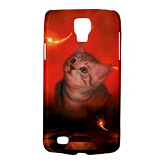 Cute Little Kitten, Red Background Galaxy S4 Active by FantasyWorld7