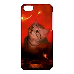 Cute Little Kitten, Red Background Apple Iphone 5c Hardshell Case by FantasyWorld7