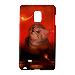 Cute Little Kitten, Red Background Galaxy Note Edge by FantasyWorld7