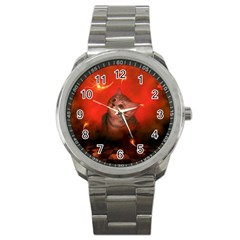 Cute Little Kitten, Red Background Sport Metal Watch by FantasyWorld7