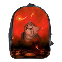 Cute Little Kitten, Red Background School Bag (xl) by FantasyWorld7