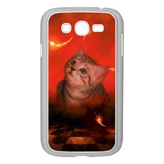 Cute Little Kitten, Red Background Samsung Galaxy Grand Duos I9082 Case (white) by FantasyWorld7