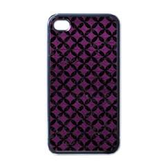 Circles3 Black Marble & Purple Leather Apple Iphone 4 Case (black) by trendistuff