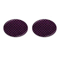 Circles3 Black Marble & Purple Leather (r) Cufflinks (oval) by trendistuff