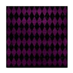 Diamond1 Black Marble & Purple Leather Tile Coasters by trendistuff