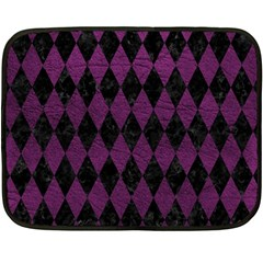 Diamond1 Black Marble & Purple Leather Double Sided Fleece Blanket (mini)  by trendistuff