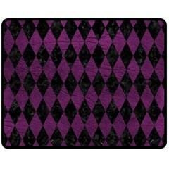 Diamond1 Black Marble & Purple Leather Double Sided Fleece Blanket (medium)  by trendistuff