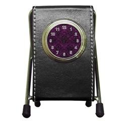 Damask1 Black Marble & Purple Leather Pen Holder Desk Clocks by trendistuff