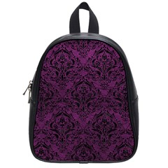 Damask1 Black Marble & Purple Leather School Bag (small) by trendistuff