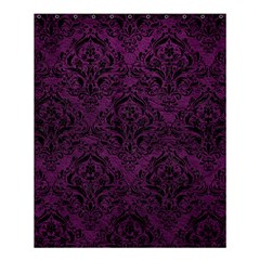 Damask1 Black Marble & Purple Leather Shower Curtain 60  X 72  (medium)  by trendistuff