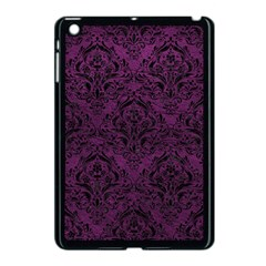 Damask1 Black Marble & Purple Leather Apple Ipad Mini Case (black) by trendistuff