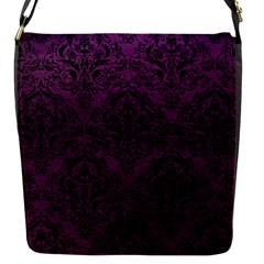Damask1 Black Marble & Purple Leather Flap Messenger Bag (s) by trendistuff