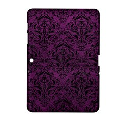 Damask1 Black Marble & Purple Leather Samsung Galaxy Tab 2 (10 1 ) P5100 Hardshell Case  by trendistuff