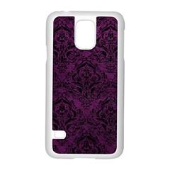 Damask1 Black Marble & Purple Leather Samsung Galaxy S5 Case (white) by trendistuff