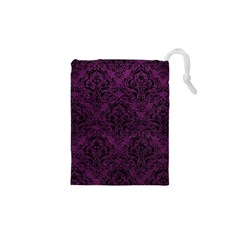 Damask1 Black Marble & Purple Leather Drawstring Pouches (xs)  by trendistuff