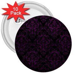Damask1 Black Marble & Purple Leather (r) 3  Buttons (10 Pack)  by trendistuff