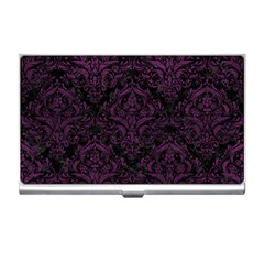 Damask1 Black Marble & Purple Leather (r) Business Card Holders by trendistuff