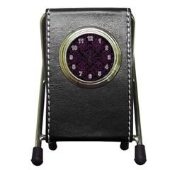 Damask1 Black Marble & Purple Leather (r) Pen Holder Desk Clocks by trendistuff