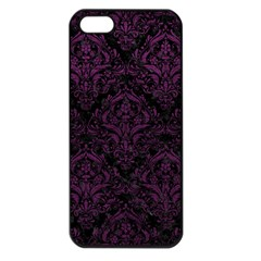 Damask1 Black Marble & Purple Leather (r) Apple Iphone 5 Seamless Case (black) by trendistuff