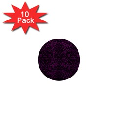Damask2 Black Marble & Purple Leather 1  Mini Buttons (10 Pack)  by trendistuff
