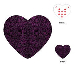 Damask2 Black Marble & Purple Leather Playing Cards (heart)  by trendistuff