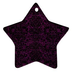 Damask2 Black Marble & Purple Leather Star Ornament (two Sides) by trendistuff
