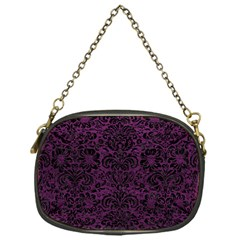 Damask2 Black Marble & Purple Leather Chain Purses (one Side)  by trendistuff