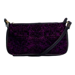 Damask2 Black Marble & Purple Leather Shoulder Clutch Bags by trendistuff